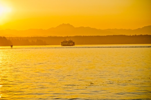 Stock Photo: 1530R-41800 Washington state ferry at sunset with Olympic mountains,  Puget Sound, Washington, USA