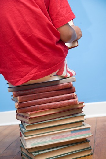 Stock Photo: 1530R-41833 Rear view of boy sitting on stack of books,