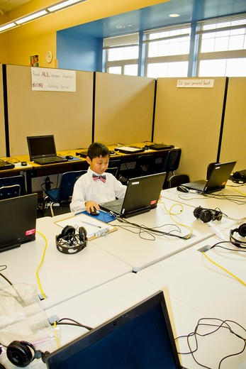 Stock Photo: 1530R-41857 Young boy seated at school laptop in computer lab,