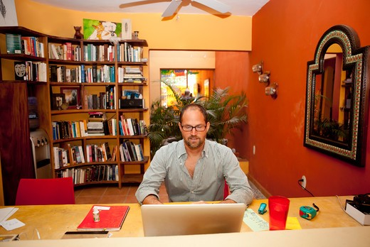 Man seated at desk in home office : Stock Photo