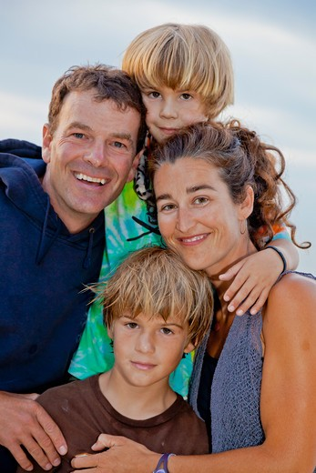 Portrait of man and woman with two boys, : Stock Photo