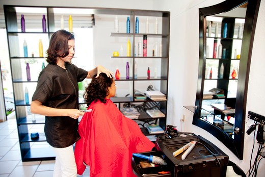 Stock Photo: 1530R-42010 Beautician and seated customer in beauty salon,  Sayulita, Mexico