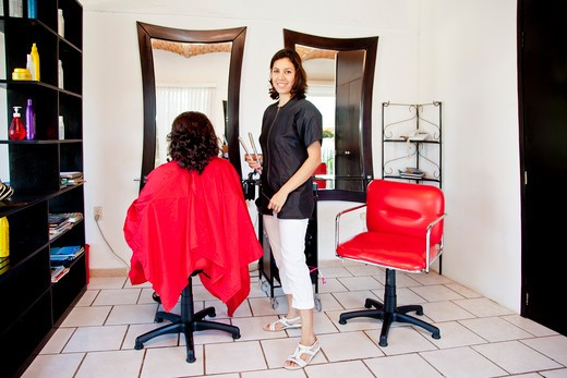 Stock Photo: 1530R-42011 Beautician and seated customer in beauty salon,  Sayulita, Mexico