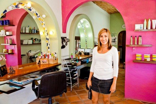 Stock Photo: 1530R-42024 Beautician holding her tools in beauty salon,  Sayulita, Mexico