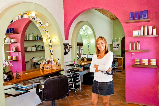 Stock Photo: 1530R-42025 Beautician holding her tools in beauty salon,  Sayulita, Mexico