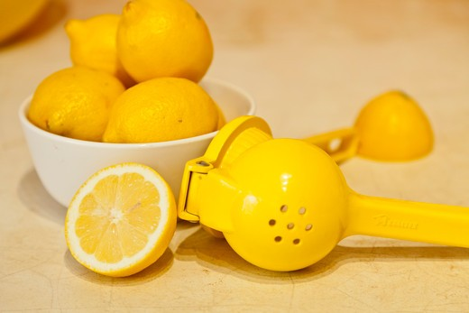 Stock Photo: 1530R-42031 Bowl of lemons and lemon juicer on counter