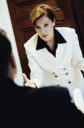 Stock Photo: 1531R-291 Businesswoman talking to a businessman in anger