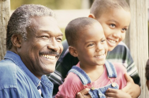 Grandfather with his two grandsons : Stock Photo