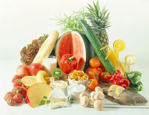 Healthy foods (cooling foods according to ying yang system) : Stock Photo