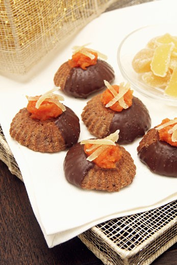 Chocolate biscuits with candied fruit : Stock Photo