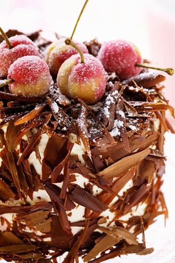 Black Forest cherry gateau with marzipan cherries (1) : Stock Photo