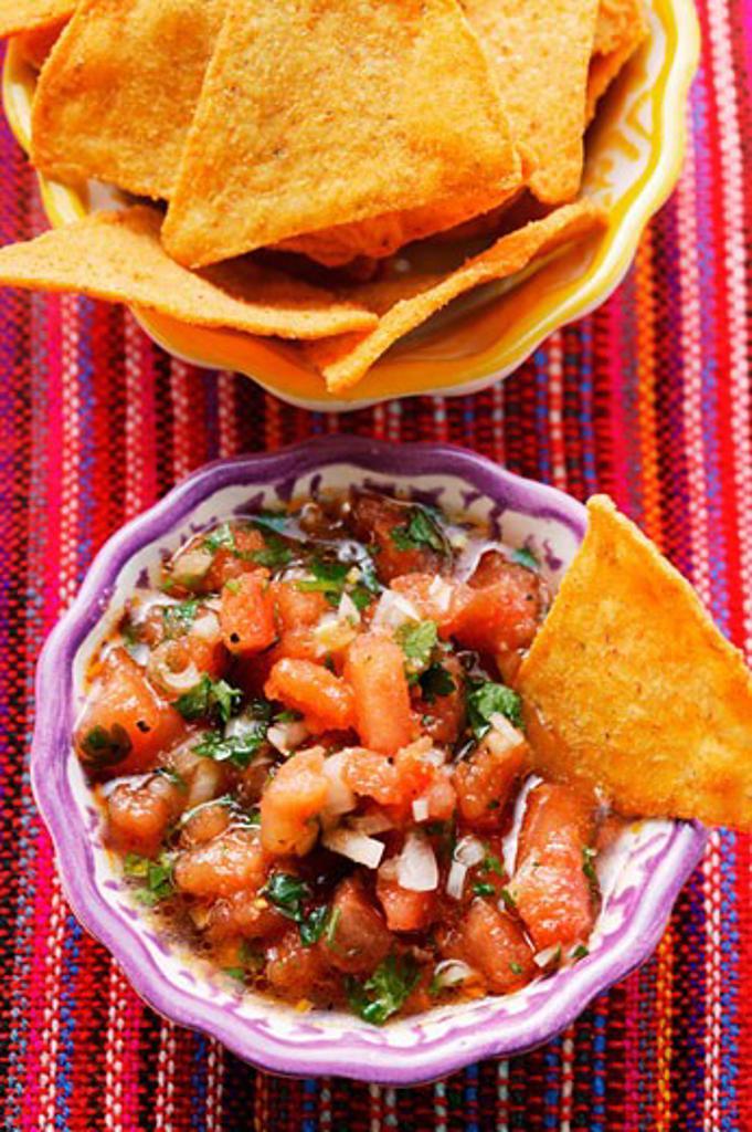 Tomato salsa and tortilla chips : Stock Photo