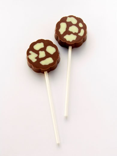 Stock Photo: 1532R-13047 Two Chocolate Lollipops