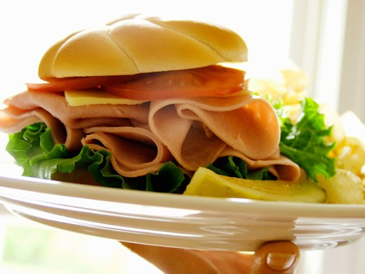 A Hand Holding a Plate with a Ham Sandwich on a Kaiser Roll : Stock Photo