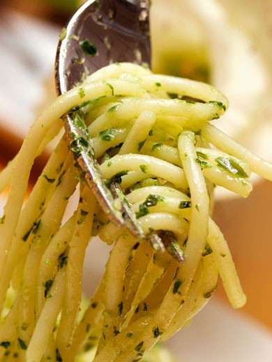 Forkful of Spaghetti with Pesto : Stock Photo