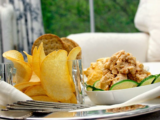 Chips and Crackers with Shrimp Dip : Stock Photo