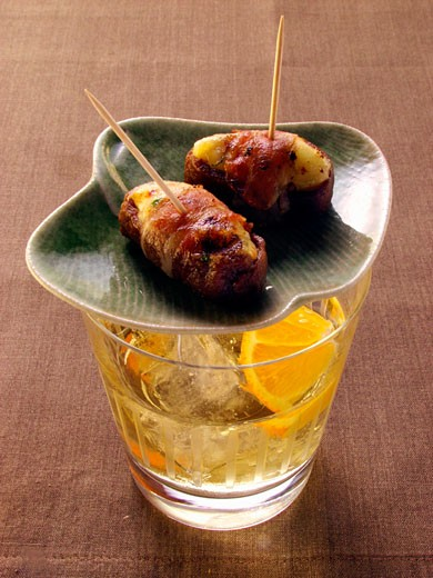 Stuffed dates on cocktail glass : Stock Photo