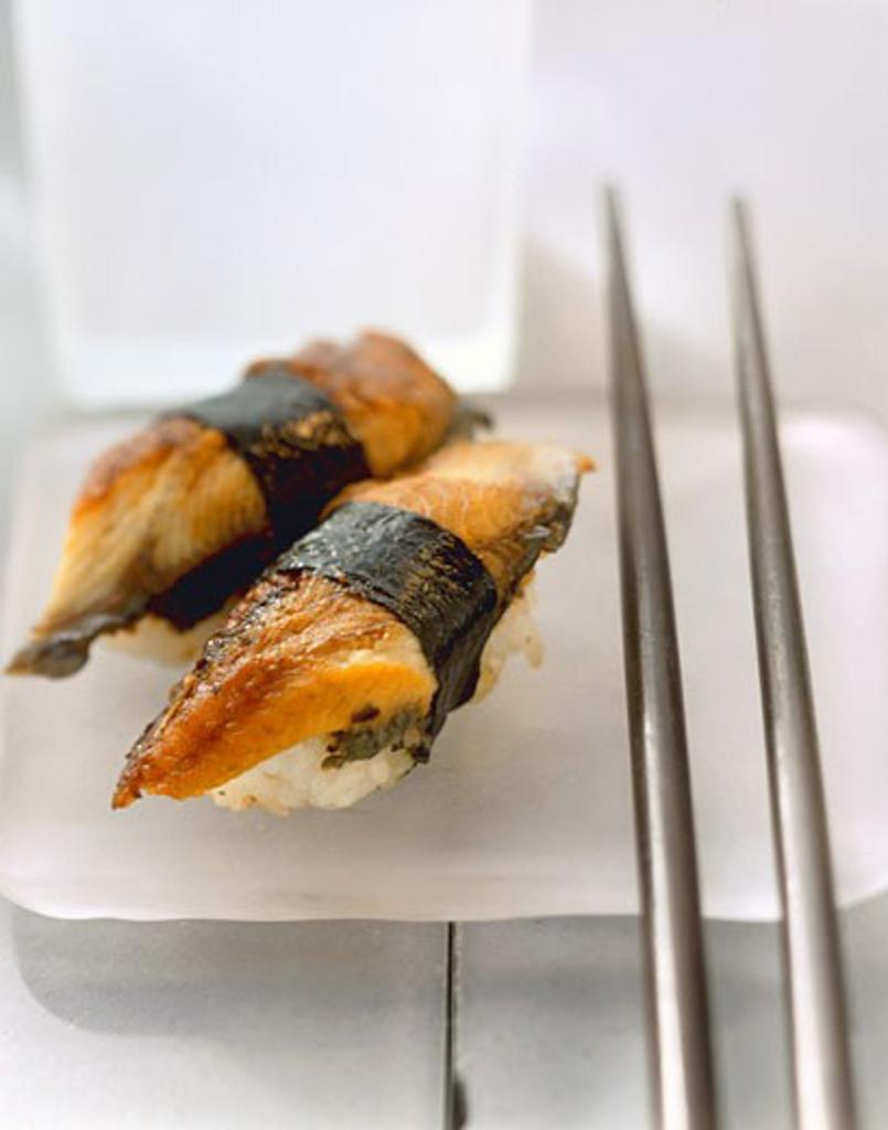 Nigiri sushi with mackerel : Stock Photo