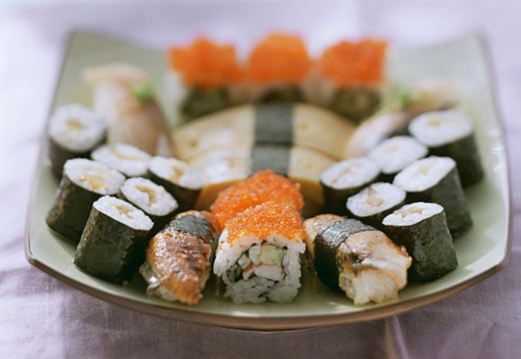 Assorted Nigiri sushi and Maki sushi on platter : Stock Photo