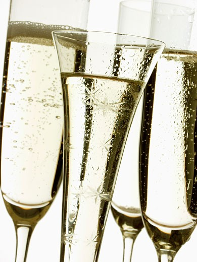 Various champagne glasses : Stock Photo