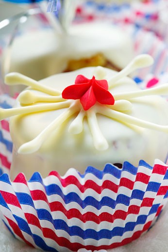 White chocolate brownie for the 4th of July : Stock Photo