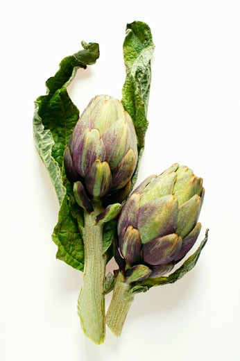 Artichokes with leaves : Stock Photo