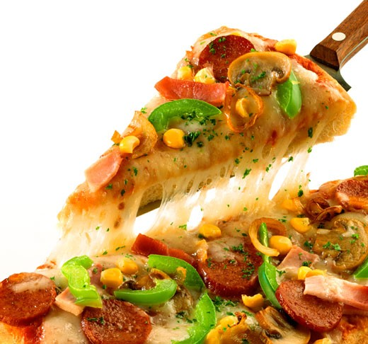 Stock Photo: 1532R-16720 Pizza with sausage, peppers, mushrooms and sweetcorn