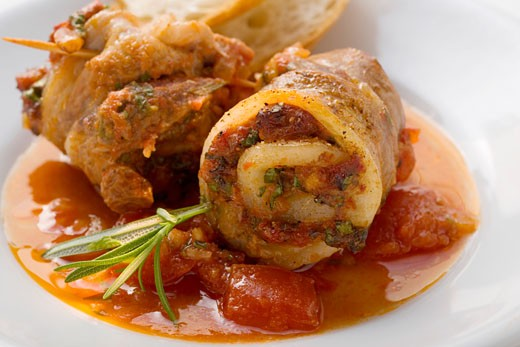 Belly pork rolls with tomato pesto, white bread : Stock Photo