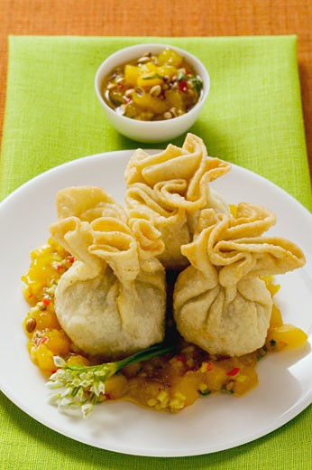 Stock Photo: 1532R-17798 Wontons with mango chutney