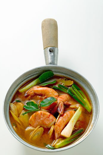 Shrimp soup with spring onions (Thailand) : Stock Photo