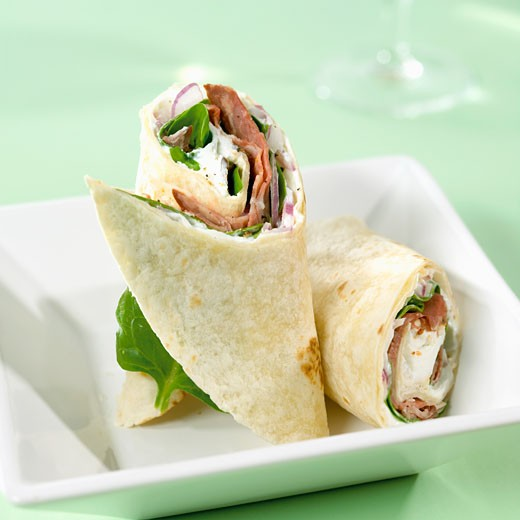 Two roast beef wraps : Stock Photo