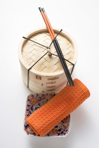 Stock Photo: 1532R-18515 Small bowl, hand towel, chopsticks and bamboo steamer