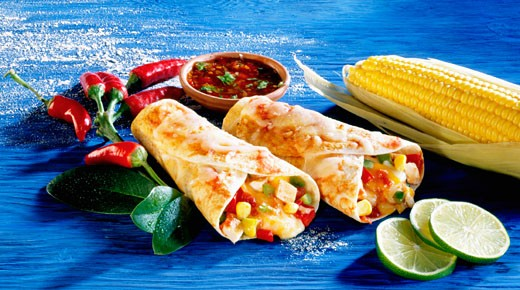 Stock Photo: 1532R-18862 Filled wheat tortilla