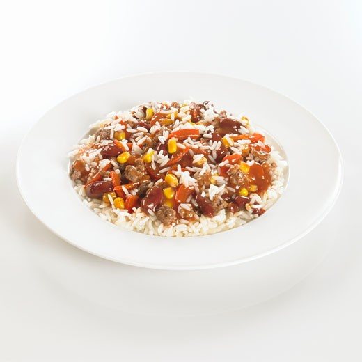 Chili con carne on rice : Stock Photo