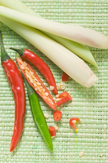 Chili peppers and lemon grass : Stock Photo