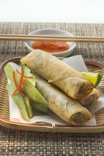 Stock Photo: 1532R-20232 Spring rolls with cucumber and dip