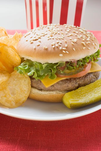 Stock Photo: 1532R-20322 Cheeseburger with potato crisps and gherkin