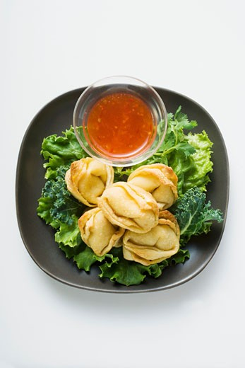 Stock Photo: 1532R-20674 Deep-fried wontons with sweet and sour sauce