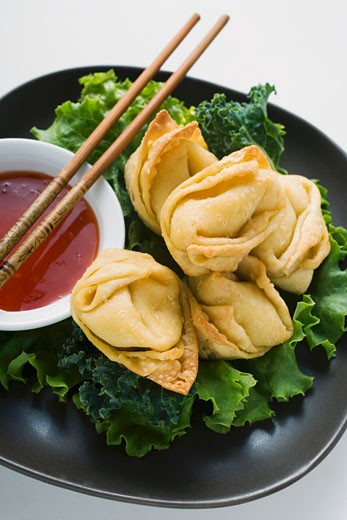 Stock Photo: 1532R-20675 Deep-fried wontons with sweet and sour sauce