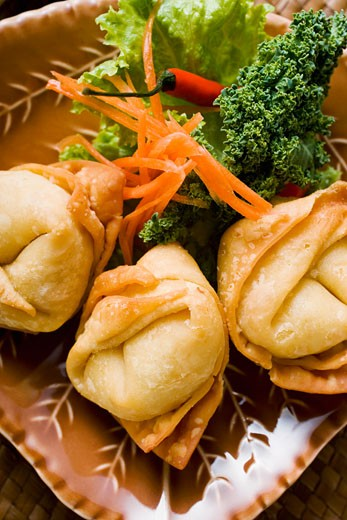 Stock Photo: 1532R-20685 Deep-fried wontons with salad