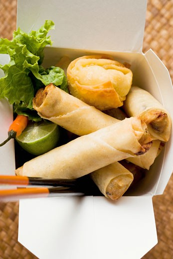 Stock Photo: 1532R-20698 Deep-fried wontons and spring rolls to take away