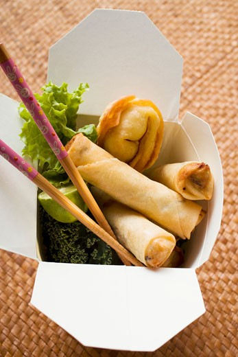 Stock Photo: 1532R-20699 Deep-fried wontons and spring rolls to take away