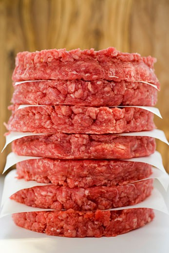 Raw burgers for hamburgers, in a pile : Stock Photo