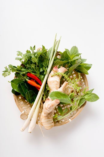 Fresh Thai herbs and spices in basket : Stock Photo