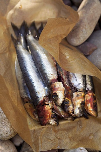 Smoked sardines on baking parchment : Stock Photo