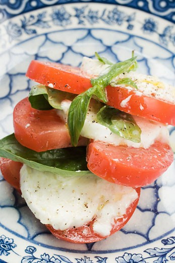 Insalata caprese (Tomatoes and mozzarella, Italy) : Stock Photo