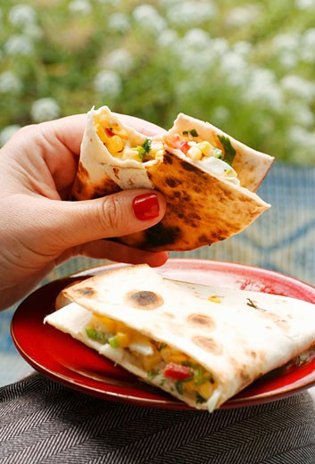 Quesadillas with sweetcorn filling : Stock Photo