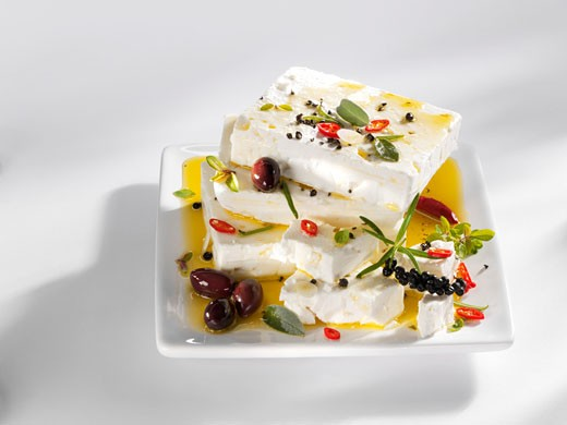 Stock Photo: 1532R-23211 Feta in herb marinade