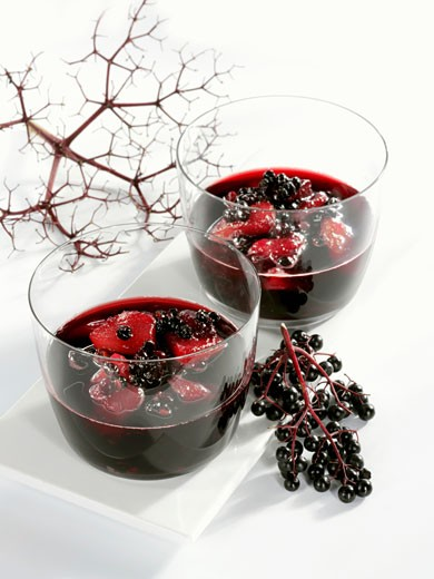 Stock Photo: 1532R-23321 Elderberry and pear compote