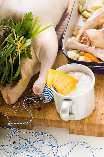 Fresh goose with ingredients (herbs, spices, vegetables) : Stock Photo